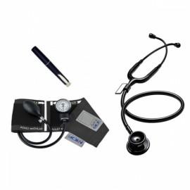 Kit baumanometro y estetoscopio calibra acoustica All Black MDF - Envío Gratuito